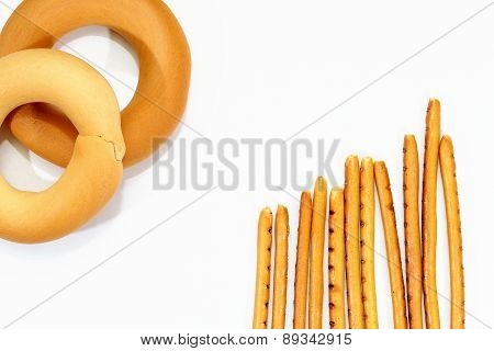 Bagels And Breadsticks Isolated On White