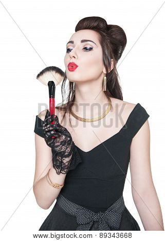 Young Beautiful Woman In Retro Pin Up Style With Makeup Brush