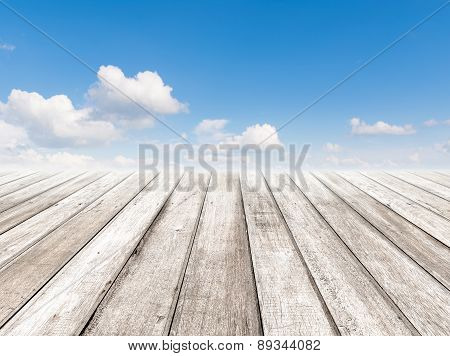 Cloudy Blue Sky And Wood Floor, Background Image