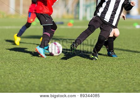 Action During Kids Soccer Match