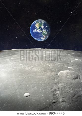 View from moon on earth. Elements of this image furnished by NASA