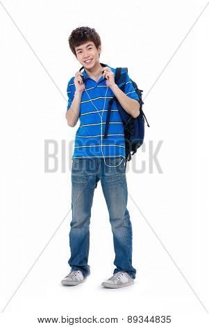 Full length casual young man in jeans standing with backpack
