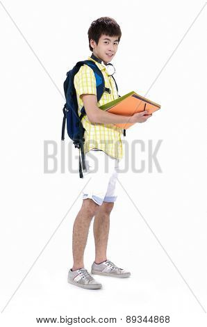 Full body Casual Young College Student Isolated