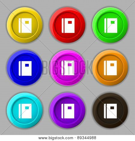 Book Icon Sign. Symbol On Nine Round Colourful Buttons. Vector
