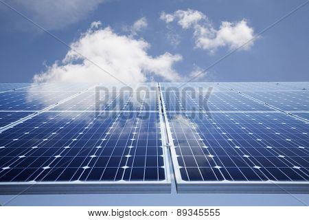 Solar power panel against blue sky