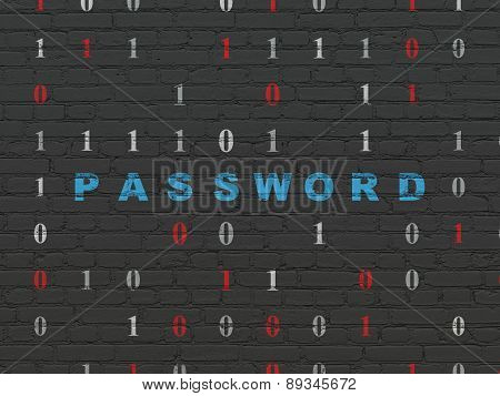 Privacy concept: Password on wall background