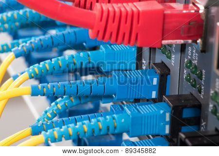 Fiber Optic cables connected to an optic ports and UTP Network cables connected to an Fast/Giga Ethernet ports