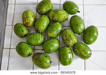 Ambarella or kedondong in Indonesia, a local fruit taste a bit sour