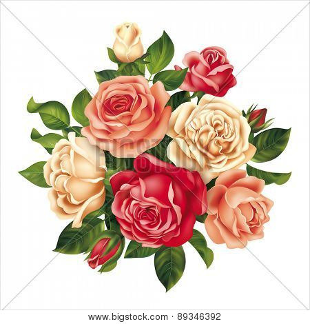 Bouquet with multicolored roses. Vector illustration.