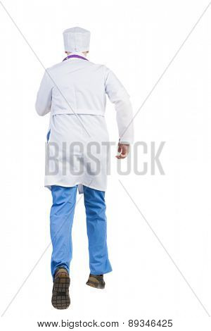Back view of running doctor in a robe hurrying to help the patient. Walking guy in motion. Rear view people collection. Backside view of person. Isolated over white background. nurse rushes to the aid