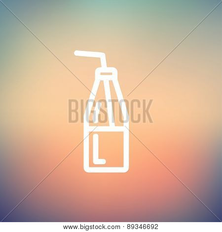 Bottle of milk with straw icon thin line for web and mobile, modern minimalistic flat design. Vector white icon on gradient mesh background.