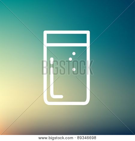 Glass of soda icon thin line for web and mobile, modern minimalistic flat design. Vector white icon on gradient mesh background.