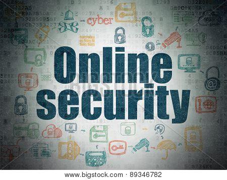 Safety concept: Online Security on Digital Paper background