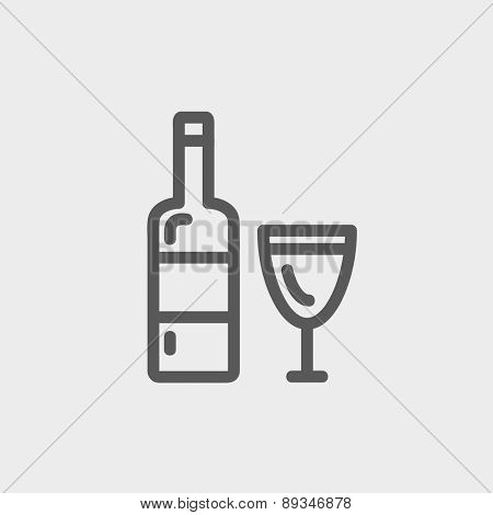 Bottle of whisky and a glass icon thin line for web and mobile, modern minimalistic flat design. Vector dark grey icon on light grey background.