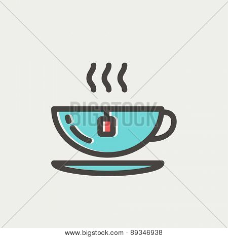 Hot tea in a cup icon thin line for web and mobile, modern minimalistic flat design. Vector icon with dark grey outline and offset colour on light grey background.