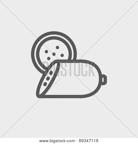 Sliced sausage icon thin line for web and mobile, modern minimalistic flat design. Vector dark grey icon on light grey background.