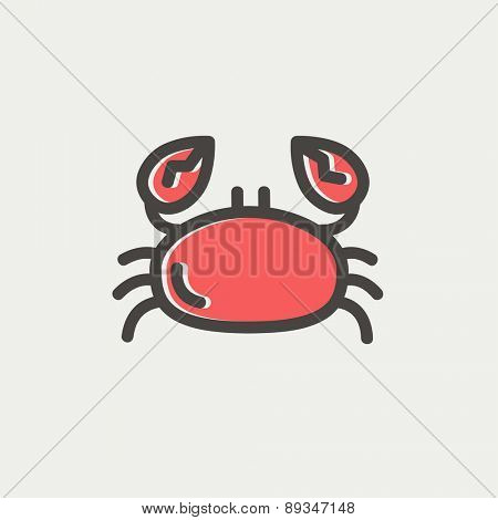 Crab icon thin line for web and mobile, modern minimalistic flat design. Vector icon with dark grey outline and offset colour on light grey background.