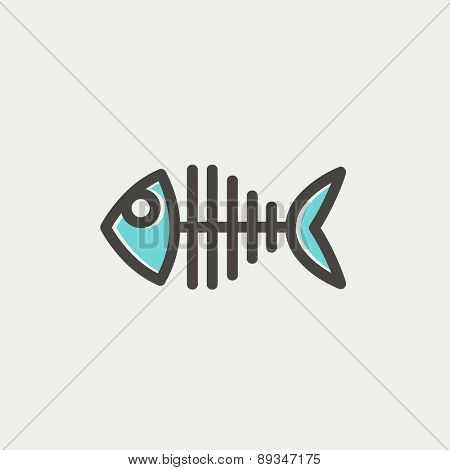 Fish skeleton icon thin line for web and mobile, modern minimalistic flat design. Vector icon with dark grey outline and offset colour on light grey background.