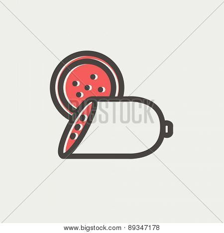 Sliced sausage icon thin line for web and mobile, modern minimalistic flat design. Vector icon with dark grey outline and offset colour on light grey background.