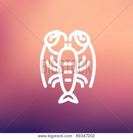 Lobster icon thin line for web and mobile, modern minimalistic flat design. Vector white icon on gradient mesh background.