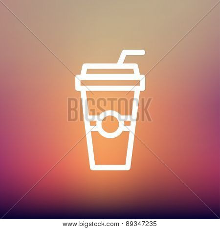 Soda in a plastic cup with straw icon thin line for web and mobile, modern minimalistic flat design. Vector white icon on gradient mesh background.