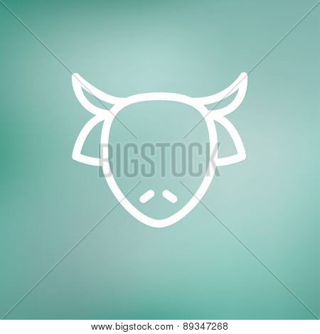 Cow head icon thin line for web and mobile, modern minimalistic flat design. Vector white icon on gradient mesh background.