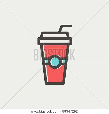 Soda in a plastic cup with straw icon thin line for web and mobile, modern minimalistic flat design. Vector icon with dark grey outline and offset colour on light grey background.