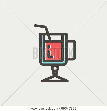 Lime juice icon thin line for web and mobile, modern minimalistic flat design. Vector icon with dark grey outline and offset colour on light grey background.