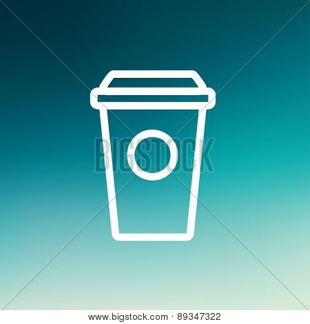 Disposable coffee cup icon thin line for web and mobile, modern minimalistic flat design. Vector white icon on gradient mesh background.
