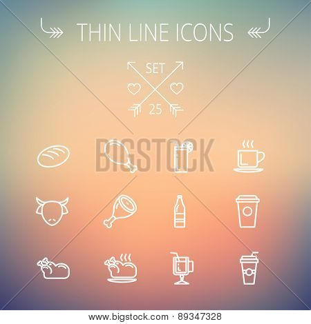 Food and drink thin line icon set for web and mobile. Set includes- coffee, soda, lime, juice, bread, poprk meat, chicken, cow, fried chicken  icons. Modern minimalistic flat design. Vector white icon