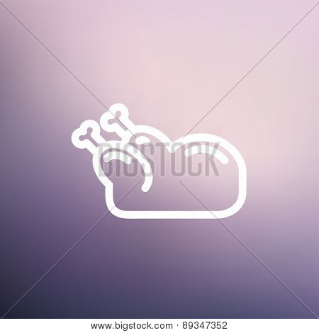 Raw chicken icon thin line for web and mobile, modern minimalistic flat design. Vector white icon on gradient mesh background.