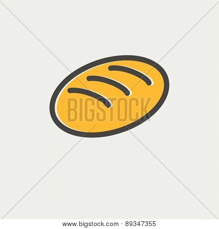 Bread icon thin line for web and mobile, modern minimalistic flat design. Vector icon with dark grey outline and offset colour on light grey background.