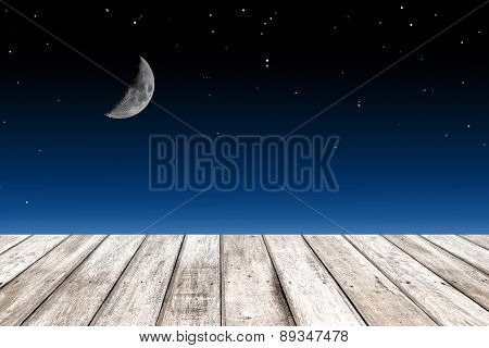 Wood Texture And Half Moon On Starry Sky Background