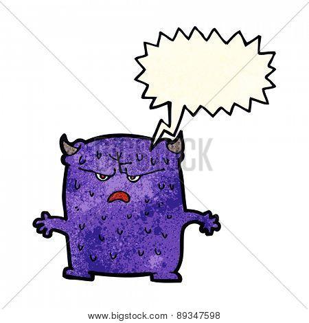 cartoon little alien with speech bubble