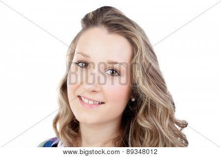 Casual blonde girl looking at camera isolated on a white background