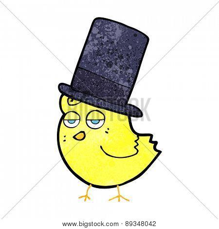 cartoon bird in top hat