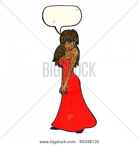 cartoon pretty woman in dress with speech bubble
