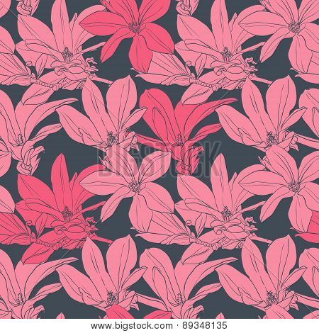 Seamless vector pattern with pink magnolia
