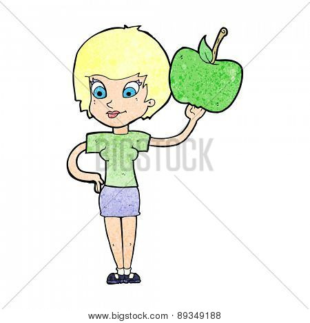 cartoon woman holding apple