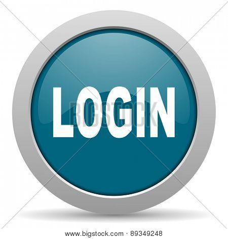 login blue glossy web icon