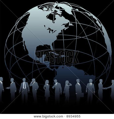 Global Business People Earth Globe