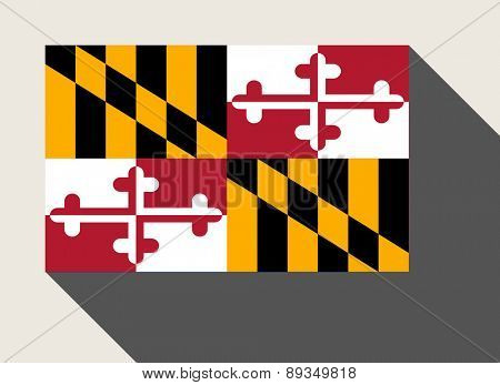 American State of Maryland flag in flat web design style.