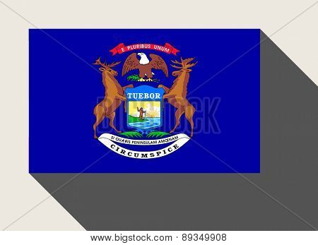 American State of Michigan flag in flat web design style.