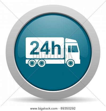 delivery blue glossy web icon