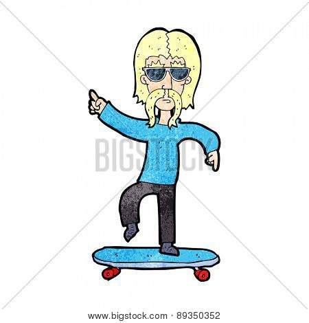 cartoon older man on skateboard