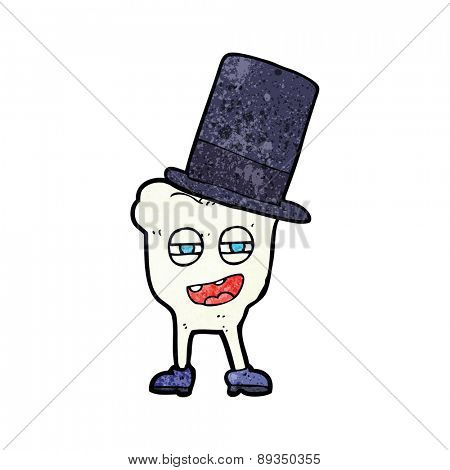 cartoon tooth with top hat