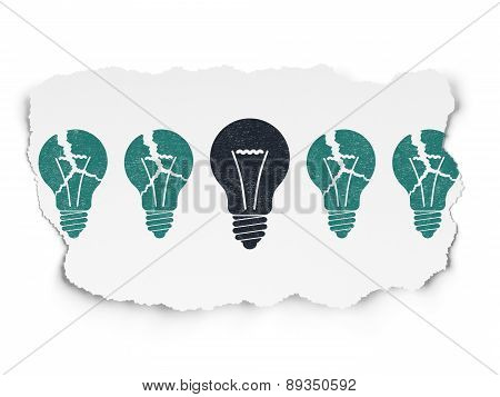 Business concept: light bulb icon on Torn Paper background