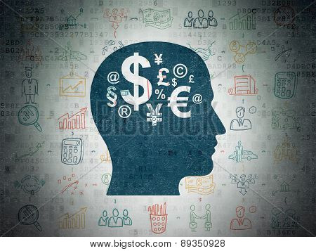Business concept: Head With Finance Symbol on Digital Paper