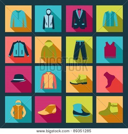Icons Set Of Fashion Elements Man Clothing