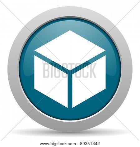 box blue glossy web icon